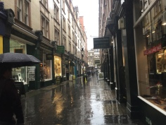 Cecil Court... in the rain! (via K. Emmons)