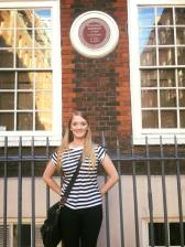 Me in front of Dr. Samuel Johnson's house (photo taken by Andrea Guzman)