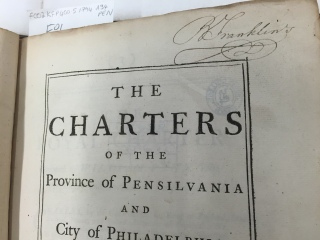 Benjamin Franklin signed copy (via K. Emmons)